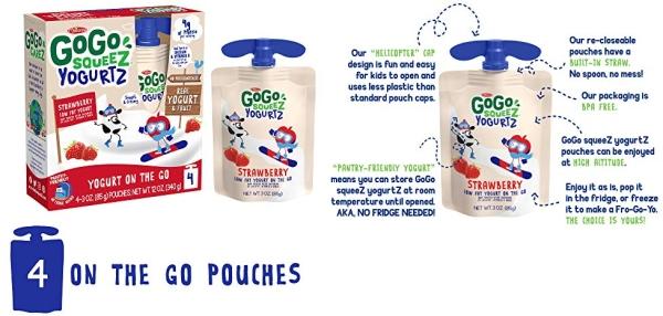 Purchase GoGo squeeZ yogurtZ, Strawberry, 3 Ounce (4 Pouches), Low Fat Yogurt, Gluten Free, Pantry-friendly, Recloseable, BPA Free Pouches on Amazon.com