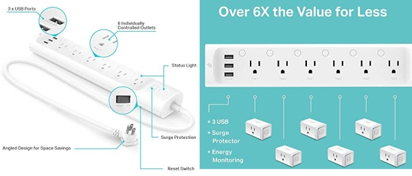 Purchase Kasa Smart Plug Power Strip HS300, Surge Protector with 6 Individually Controlled Smart Outlets and 3 USB Ports, Works with Alexa & Google Home, No Hub Required on Amazon.com