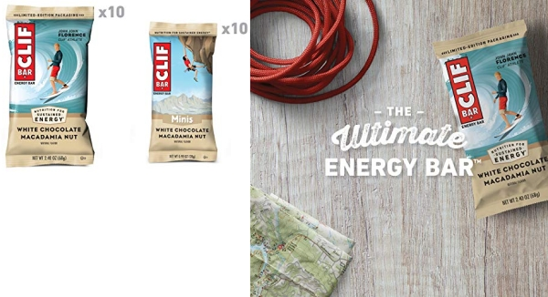Purchase Clif Bar, Bars 10 Full Size and 10 Mini Energy Bars Made with Organic Oats Plant Based Food Vegetarian Kosher 2.4oz and 0.99oz Protein Bars, White Chocolate Macadamia, 20 Count on Amazon.com