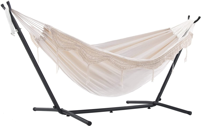 Purchase Vivere Double Hammock with Space Saving Steel Stand, Natural (450 lb Capacity - Premium Carry Bag Included) at Amazon.com