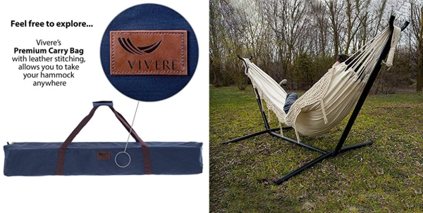 Purchase Vivere Double Hammock with Space Saving Steel Stand, Natural (450 lb Capacity - Premium Carry Bag Included) on Amazon.com