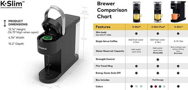 Purchase Keurig K-Slim Coffee Maker, Single Serve K-Cup Pod Coffee Brewer, 8 to 12 oz. Brew Sizes, Black on Amazon.com