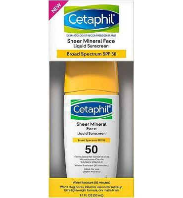 Purchase Cetaphil Sheer 100% Mineral Liquid Sunscreen for Face, SPF 50, 1.7 Fl Oz at Amazon.com