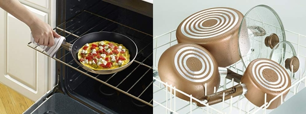 Purchase T-fal B036S2 Excite ProGlide Nonstick Thermo-Spot Heat Indicator Dishwasher Oven Safe 8 Inch and 10.5 Inch Fry Pan Cookware Set, 2-Piece, Bronze on Amazon.com