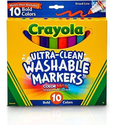 Purchase Crayola Ultraclean Broadline Bold Markers (10 Count) at Amazon.com