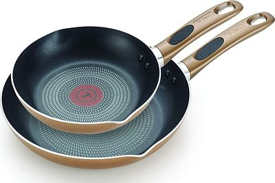 Purchase T-fal B036S2 Excite ProGlide Nonstick Thermo-Spot Heat Indicator Dishwasher Oven Safe 8 Inch and 10.5 Inch Fry Pan Cookware Set, 2-Piece, Bronze at Amazon.com