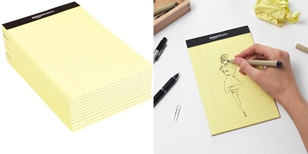 Purchase AmazonBasics Narrow Ruled 5 x 8-Inch Writing Pad - Canary (50 Sheet Paper Pads, 12 pack) on Amazon.com