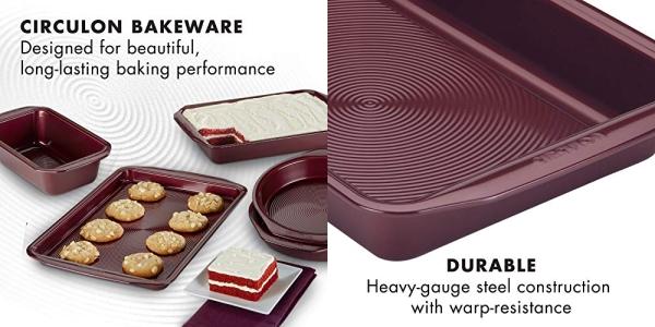 Purchase Circulon Nonstick Bakeware Set with Nonstick Bread Pan, Baking Pan, Cookie Sheet / Baking Sheet and Cake Pans - 5 Piece, Merlot Red on Amazon.com