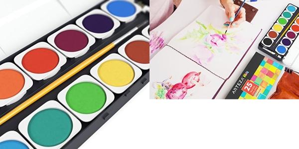 Purchase Arteza Kids Premium Watercolor Paint Set, 25 Vibrant Color Cakes, Includes Paint Brush (Set of 25) on Amazon.com