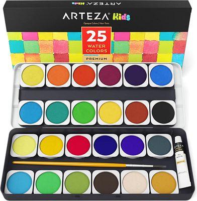 Purchase Arteza Kids Premium Watercolor Paint Set, 25 Vibrant Color Cakes, Includes Paint Brush (Set of 25) at Amazon.com