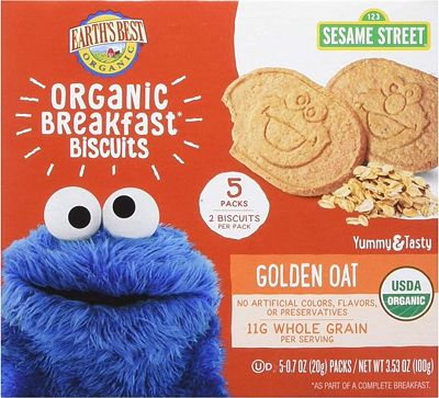 Purchase Earth's Best Organic Sesame Street Toddler Breakfast Biscuits, Golden Oat, 5 Count, (Pack of 6) at Amazon.com