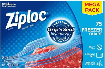 Purchase Ziploc Freezer Bags with New Grip 'n Seal Technology, For Food, Organization and More, Quart, 75 Count at Amazon.com