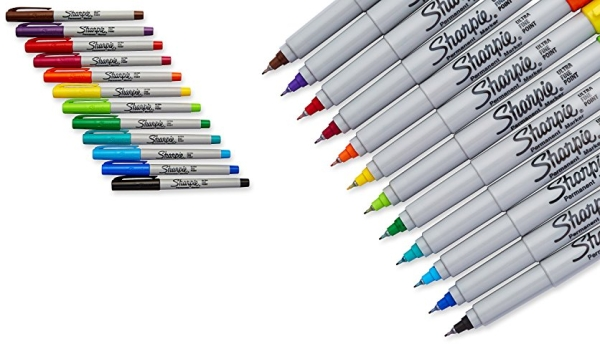 Purchase Sharpie 37175 Permanent Markers, Ultra-Fine Point, Assorted Colors, 12-Count on Amazon.com