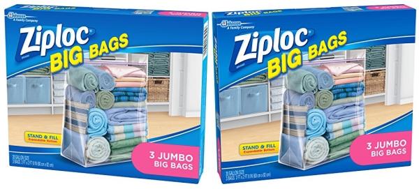 Purchase Ziploc Storage Bags, Double Zipper Seal & Expandable Bottom, Jumbo, 3 Count, Big Bag on Amazon.com