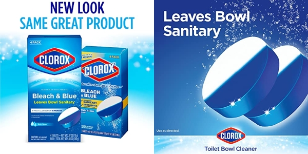 Purchase Clorox Ultra Clean Toilet Tablets Bleach & Blue, Rain Clean Scent 2.47 Ounces Each, 4 Count (Package May Vary) on Amazon.com