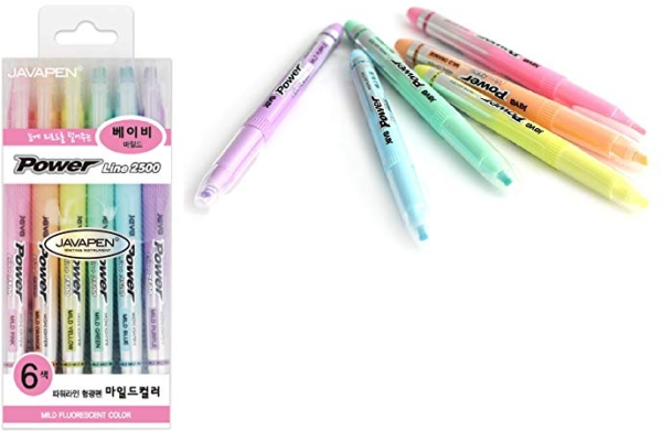 Purchase JAVAPEN rainbow pastel Highlighter brush Chisel Tip Pens (Baby colors 6 pens set) on Amazon.com
