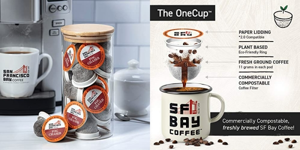 Purchase SF Bay Coffee Fog Chaser 80 Ct Medium Dark Roast Compostable Coffee Pods, K Cup Compatible including Keurig 2.0 on Amazon.com