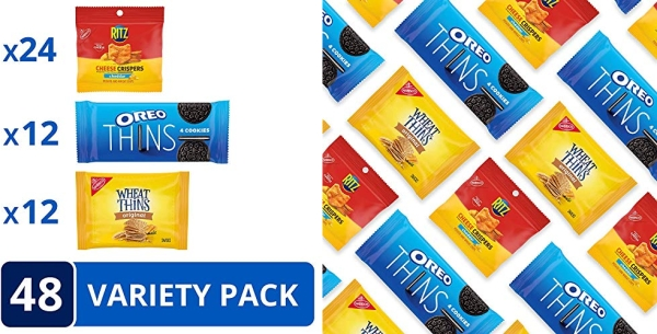 Purchase NABISCO, OREO Thins Chocolate Sandwich Cookies, RITZ Cheddar Flavor Cheese Crispers Chips and Wheat Thins Crackers Variety Pack, Snack Packs,, Cheddar/Cheese/Chocolate, 48 Count on Amazon.com