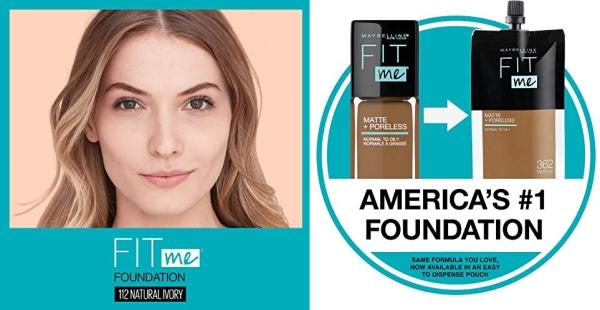Purchase Maybelline Fit Me Matte + Poreless Liquid Foundation Makeup, Natural Ivory, 1 fl. oz. Oil-Free Foundation on Amazon.com