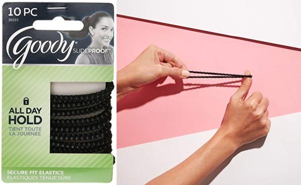 Purchase GOODY Hair SlideProof Hair Tie Elastics, 4mm, Black, 10 Count on Amazon.com
