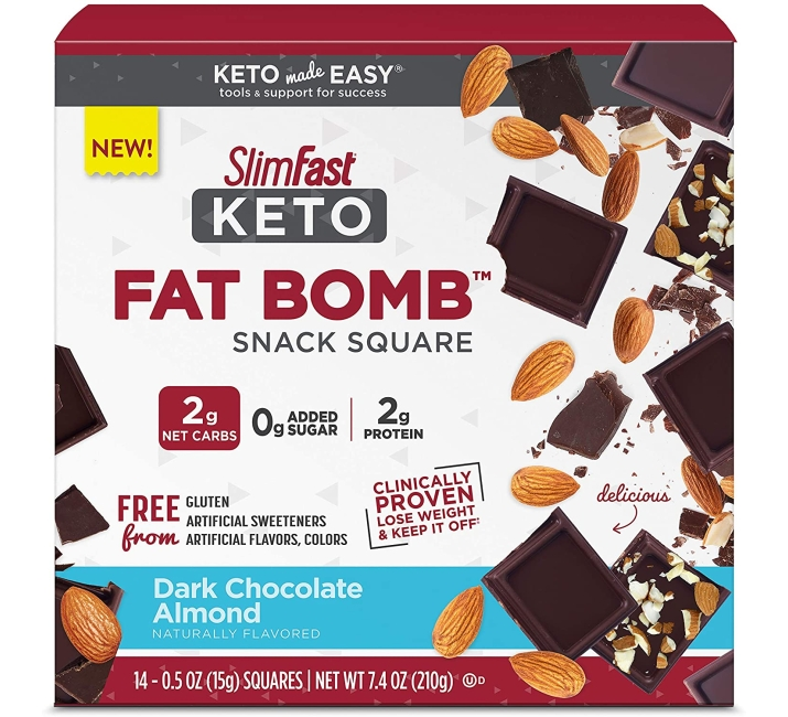 Purchase SlimFast Keto Fat Bomb Snack Squares - Dark Chocolate Almond Squares - 14 Count Box - Pantry Friendly at Amazon.com
