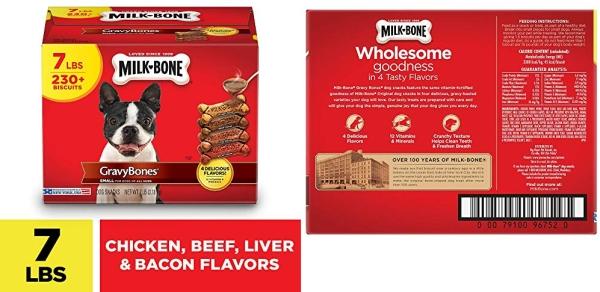 Purchase Milk-Bone Gravy Bones Dog Biscuits, 4 Meaty Flavors with 12 Vitamins & Minerals on Amazon.com