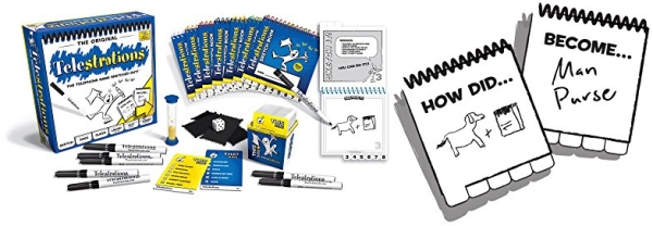 Purchase Telestrations Original 8 Player, Family Board Game, The Telephone Game Sketched Out on Amazon.com