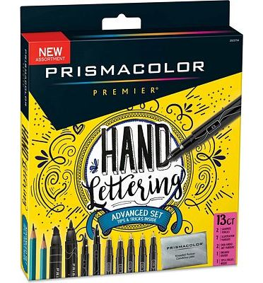 Purchase Prismacolor 2023754 Premier Advanced Hand Lettering Set with Illustration Markers, Art Markers, Pencils, Eraser and Tips Pamphlet, 13 Count at Amazon.com