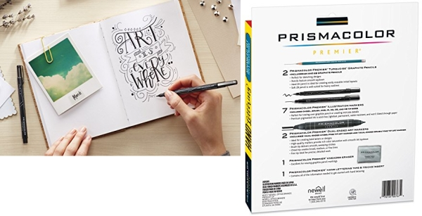 Purchase Prismacolor 2023754 Premier Advanced Hand Lettering Set with Illustration Markers, Art Markers, Pencils, Eraser and Tips Pamphlet, 13 Count on Amazon.com