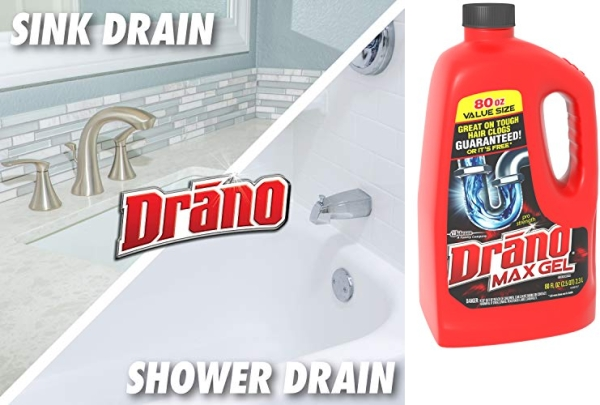 Purchase Drano Max Gel Drain Clog Remover and Cleaner for Shower or Sink Drains, Unclogs and Removes Hair, Soap Scum, Blockages, 80 oz on Amazon.com