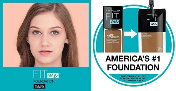 Purchase Maybelline Fit Me Matte + Poreless Liquid Foundation Makeup, Ivory, 1 fl. oz. Oil-Free Foundation on Amazon.com