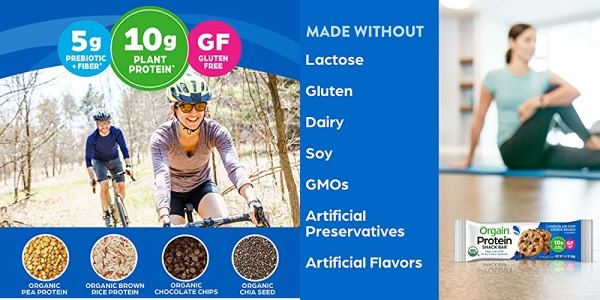 Purchase Orgain Organic Plant Based Protein Bar, Chocolate Chip Cookie Dough - Vegan, Gluten Free, Non Dairy, Soy Free, Lactose Free, Kosher, Non-GMO, 1.41 Ounce, 12 Count on Amazon.com