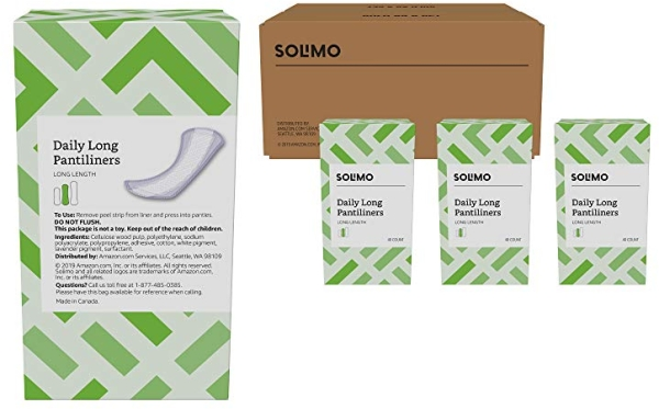 Purchase Amazon Brand - Solimo Daily Long Pantiliner, Long Length, 120 Count (3 packs of 40) on Amazon.com