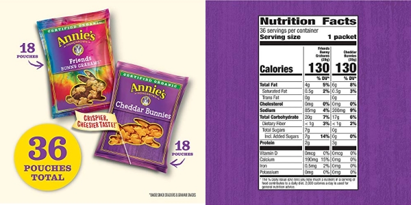 Purchase Organic, Snack Variety Pack, Cheddar Bunnies and Bunny Grahams, 1 oz, 36 ct on Amazon.com