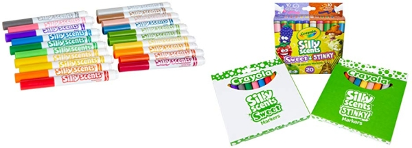 Purchase Crayola Silly Scents Sweet & Stinky Scented Markers, 20 Count, Washable Markers, Gift for Kids, Age 3, 4, 5, 6 on Amazon.com
