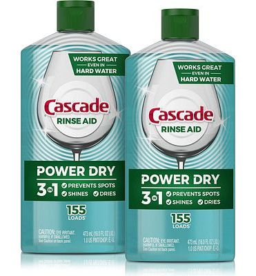 Purchase Cascade Power Dry Dishwasher Rinse Aid, 16 Fl Oz, 2 Count at Amazon.com