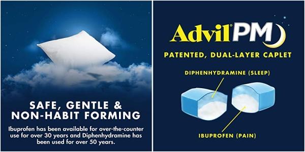 Purchase Advil PM Pain Reliever/Nighttime Sleep Aid Coated Caplet, 200mg Ibuprofen - 50 Packs on Amazon.com